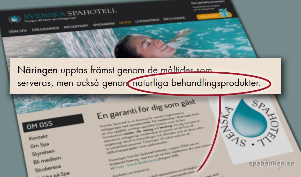 Svenska Spahotell Naturliga behandlingsprodukter